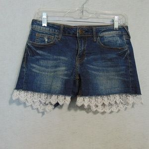 Vigoss Blue Denim Jean Shorts Lace Trim Sz 1